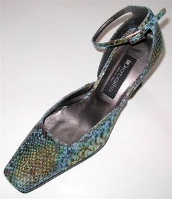 Ladies Blue Leather Pumps Shoes 7 5 Gator Free SHIP
