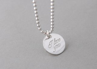 SILVER I LOVE YOU NECKLACE DISC PENDANT ENGRAVED JEWELRY WHITE GOLD