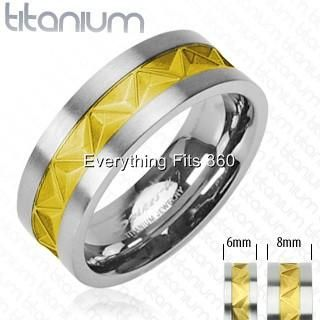 Titanium Ring Gold Plated Center Design Comfort Fit 6mm 8mm Sizes 5 to