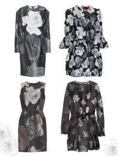 Rose Print Dress w/ Gigot Sleeves, $4,490; Rose All Over Dress, $5,345
