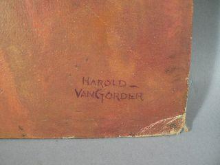 up illustration oil on artist board artist signed Harold Van Gorder