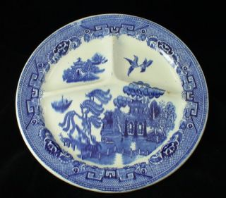 Antique Flow Blue Grill Plate Traditional Blue Willow