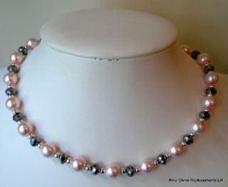 Glass Pearl and Silver Crystal Rondelle Necklace Bracelet and Earrings