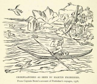 1912 Print Greenland Kayak Bird Hunting Native Indigenous Beste