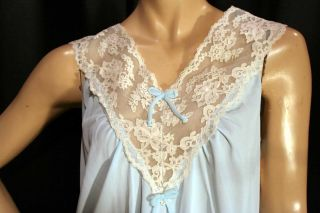 SZ M L BLUE SHEER NYLON LACE NOS VTG 60s GILEAD SHIFT GOWN NIGHTGOWN