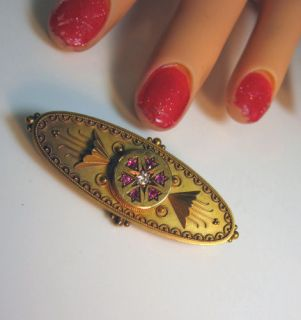 Incredible Vintage 1880s Antique Victorian Ruby Diamond 15KT Gold