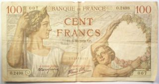 1940 Banque de France 100 Francs Note Fine French WW II Paper Money