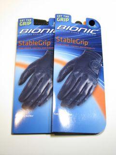 Bionic Golf Glove Men LEFT HAND Black CADET LARGE *2 GLOVES * FREE
