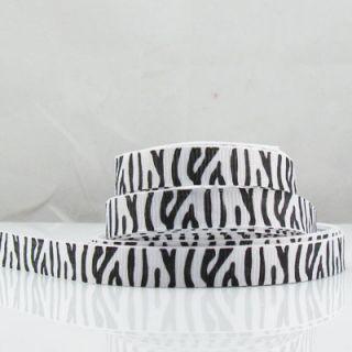50 Yards 3 8 9mm Lot Printed White Zebra Grosgrain Ribbon