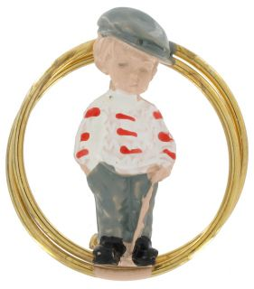 Vintage Round Fran Mar Moppets Golf Boy Red Striped Pin