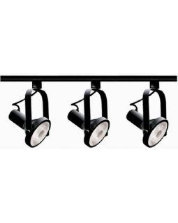 Black 3 Light Gimbal Ring Heads Track Kit NIB