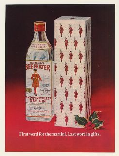 1967 Beefeater Gin Bottle Gift Box First Word for Martini Ad
