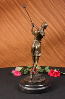 Bronze Statue Vintage Female LPGA Golfer Golf Trophy NR Sculpture