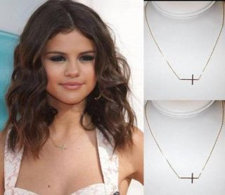 Selena Gomez Slim Sleek Gold Tone Horizontal Sideways Cross Necklace