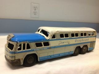 Vintage Greyhound Bus Toy 1950s 60s Metal Bus Toy