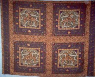Fabric 4 Pillow Panels Timeless Treasures Giraffes