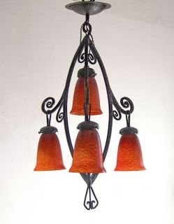 Delatte Signed French 1925 Art Deco Chandelier Wrought Iron Lamp Lampe