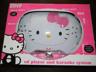 HELLO KITTY CD PLAYER KARAOKE SYSTEM Microphones Disco Lights Great