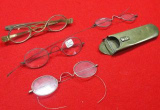 Antique Eyeglasses and Brass Spectacle Case