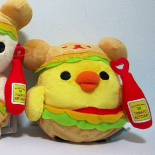New San x Rilakkuma Kiiroitori Chick Hamburger Plush Toy Doll Japan