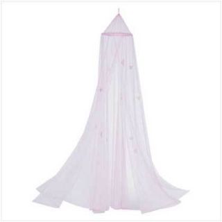 Butterfly Motif Childrens Girls Pink Hanging Bed Canopy