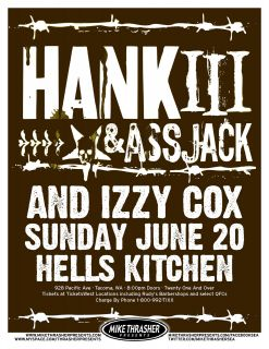 HANK WILLIAMS III & ASS JACK 2010 TACOMA CONCERT TOUR POSTER   Country