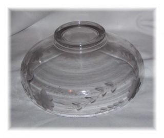 Vintage Floral Etched Glass Serving Bowl Heavy Etching Dessert