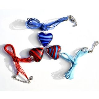 New Handmade Lots 6pcs Murano Glass Womens Heart Necklace Pendant