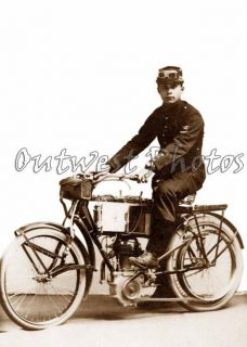 Early 1900s Unusual Motorcycle Rider Biker Photo