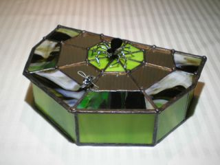 Handmade Stained Glass Jewelry Box Spider