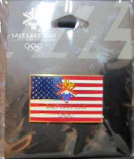 2002 Salt Lake City USA Flag Winter Olympic Pin * new in plastic