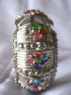 Silver Tone Jewelry Multi Color Bangle India kada Hinged Cuff Bracelet