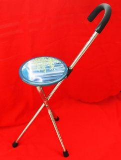 Chair Seat Metal Portable Stool Cane Walking Stick 2