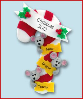 Mouse Family of 3 Personalized Christmas Ornament Handmade Polymer by
