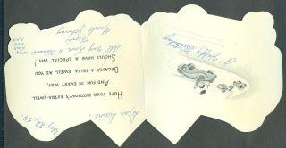 1958 Vintage Hallmark Greeting Card Happy Birthday Nephew Boy in Race