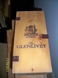 Vintage Glenlivet Scotch Whiskey 12 Year Old Wooden Wood Box for