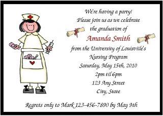 Personalized Nurse Graduation Party Invitations
