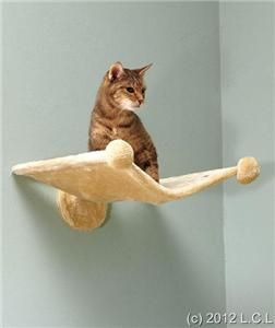 Plush Cat Kitten Elevated Comfortable Perch Hammock Style Wall Bed