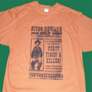 Shirt John Wesley Hardin Wanted Poster Wild West Authentic Original