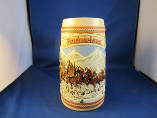 Budweiser Beer Stein 1985 Series A Clydesdales Snowy Mountains
