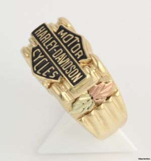 Harley Davidson Motorcycles Two Toned Ring 10K Solid Yellow Rose Gold
