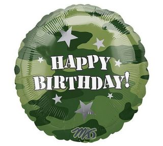 18 Happy Birthday Camouflage Military Camo Mylar Balloon Foil Party