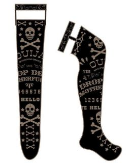 Too Fast Garter Thigh High Socks Ouija Board Gothic Psychobilly Punk
