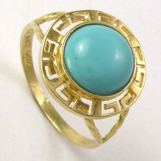 14k Solid Yellow Gold Greek Key Turquoise Ring R1048