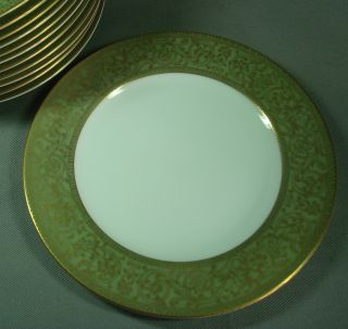 China Dinnerware 3632 Japan 7¾ Salad Plate Green Band Gold