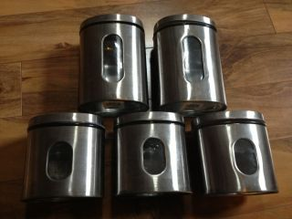 Green Eco Friendly Metal and Glass Stainless Kitchen Storage Canister