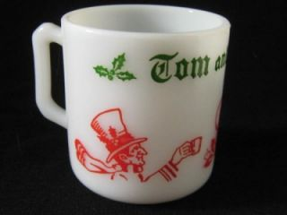 HAZEL ATLAS OPAQUE MILK GLASS TOM & JERRY CHRISTMAS MUG Egg Nog Punch