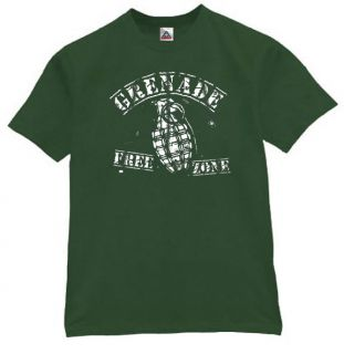 Grenade Free Zone T Shirt Cool Funny Retro Tee Grn XL