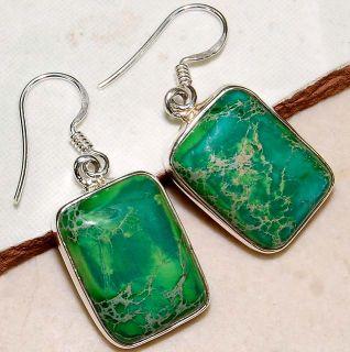 Green Sea Sediment Jasper & 925 Solid sterling silver Earrings, Item