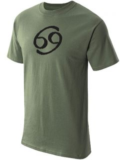 Zodiac Astrological Sign T Shirt Graphic Tee Olive Green L